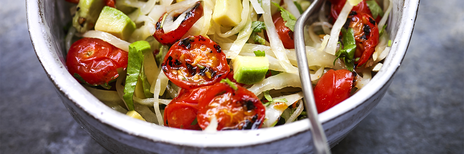 Char-grilled Tomato and Avocado Slaw